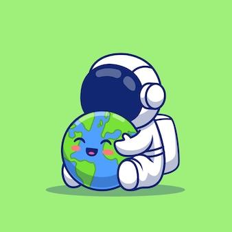 Leuke astronaut holding earth cartoon afbeelding