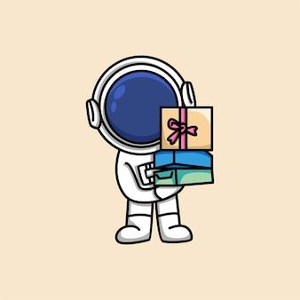 Leuke astronaut houden geschenkdoos cartoon afbeelding