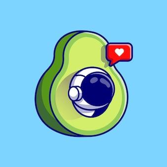 Leuke astronaut in avocado fruit cartoon