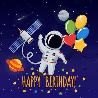Leuke astronaut in de ruimte. gefeliciteerd gelukkige verjaardag. vector afbeelding achtergrond
