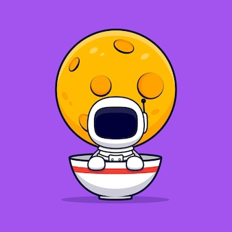 Leuke astronaut in ramen bowl cartoon. flat cartoon stijl
