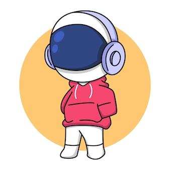 Leuke astronaut in rode jas met koptelefoon cartoon afbeelding