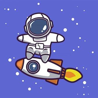 Leuke astronaut in ruimte mascotte ontwerp illustratie
