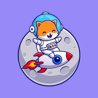 Leuke astronaut kat rijden raket cartoon vector pictogram illustratie. dierlijke wetenschap pictogram concept geïsoleerd premium vector. platte cartoonstijl