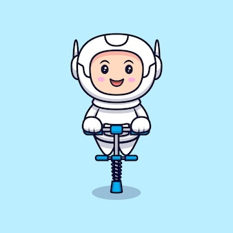 Leuke astronaut klaar om cartoon afbeelding te springen. flat cartoon stijl
