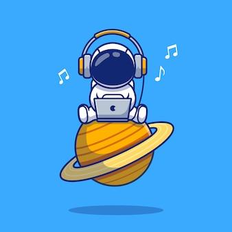 Leuke astronaut luisteren muziek met laptop en hoofdtelefoon cartoon pictogram illustratie. ruimte pictogram concept geïsoleerd premium. flat cartoon stijl
