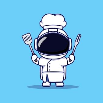 Leuke astronaut met chef-kok uniform met gebruiksvoorwerpen