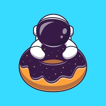 Leuke astronaut met donut ruimte cartoon vector pictogram illustratie. wetenschap voedsel pictogram concept geïsoleerde premium vector. platte cartoonstijl
