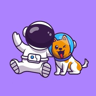Leuke astronaut met hond astronaut cartoon vector pictogram illustratie. technologie dierlijke pictogram concept geïsoleerde premium vector. platte cartoonstijl