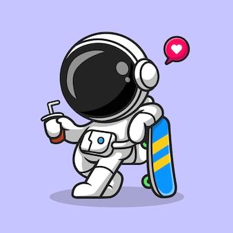 Leuke astronaut met skateboard en soda cartoon vector pictogram illustratie. sport wetenschap pictogram concept geïsoleerd premium vector. platte cartoonstijl