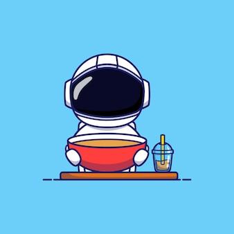 Leuke astronaut met soep en koffie