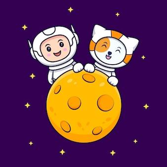 Leuke astronaut op de maan cartoon afbeelding. flat cartoon stijl
