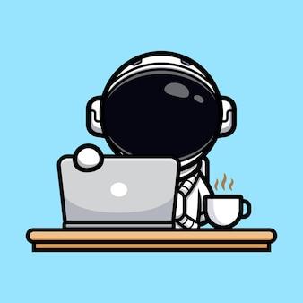 Leuke astronaut opent de laptop voor werkende mascotte