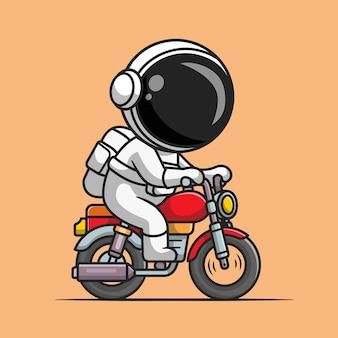 Leuke astronaut rijden motorfiets cartoon vectorillustratie pictogram. technologie vervoer pictogram concept geïsoleerd premium vector. platte cartoonstijl