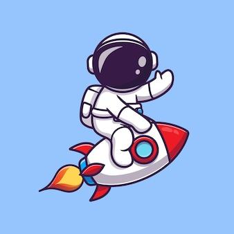 Leuke astronaut rijden raket en zwaaiende hand cartoon pictogram illustratie. wetenschap technologie pictogram concept