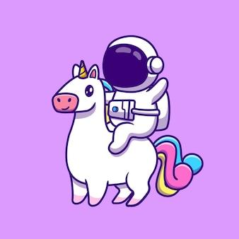 Leuke astronaut rijden unicorn paard cartoon pictogram illustratie.
