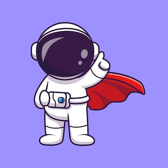 Leuke astronaut super hero cartoon vector icon illustratie.