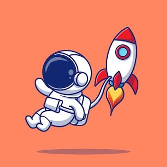 Leuke astronaut vliegen met raket cartoon pictogram illustratie. mensen wetenschap pictogram concept geïsoleerde premie. flat cartoon stijl