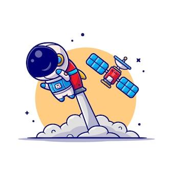 Leuke astronaut vliegen met raket en satelliet cartoon pictogram illustratie.
