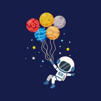 Leuke astronaut vliegt in de ruimte met ballonnen in de vorm van een planeet platte vector cartoon design