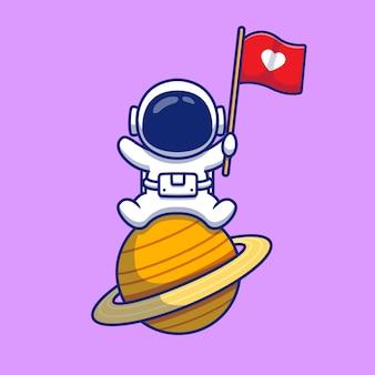 Leuke astronaut zittend op de planeet met liefde vlag cartoon pictogram illustratie. mensen wetenschap pictogram concept geïsoleerde premie. flat cartoon stijl Premium Vector