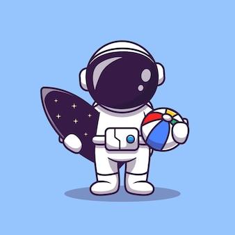 Leuke astronaut zomer met surfplank en bal cartoon vectorillustratie pictogram. ruimte zomer pictogram