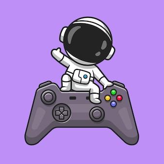 Leuke astronaut zwaaiende hand op game controller cartoon vectorillustratie pictogram. technologie wetenschap pictogram concept geïsoleerd premium vector. platte cartoonstijl