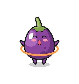 Leuke aubergine-cartoon speelt hoelahoep, schattig aubergine-personage houdt een oude telescoop vast