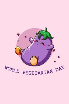 Leuke aubergine in cartoonillustratie van wereldvegetarische dag