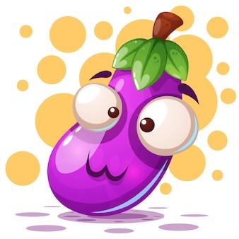 Leuke aubergineillustratie - beeldverhaalkarakters.