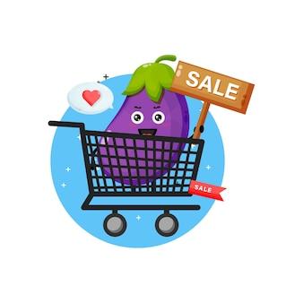 Leuke auberginemascotte in boodschappenmand