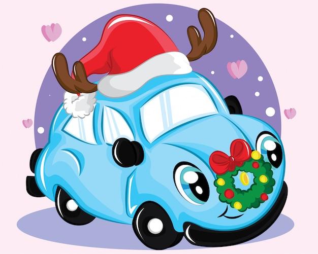 Leuke auto met kerstmuts in een kerst