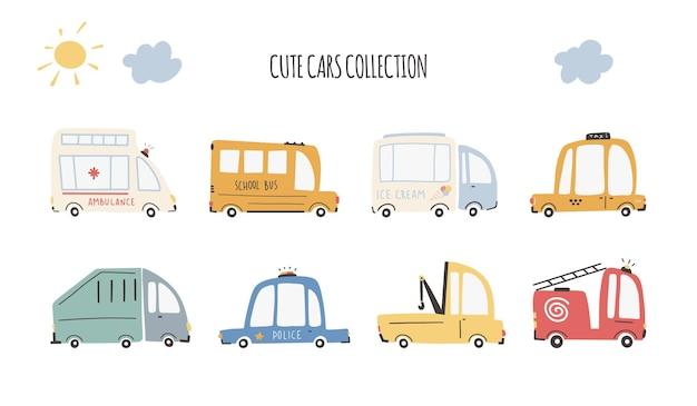 Leuke auto's collectie. cartoon grappig vervoer. cartoon vectorillustraties in eenvoudige kinderachtige handgetekende scandinavische stijl