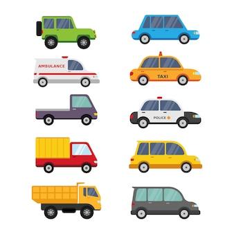 Leuke auto voertuig cartoon collectie geïsoleerd op wit