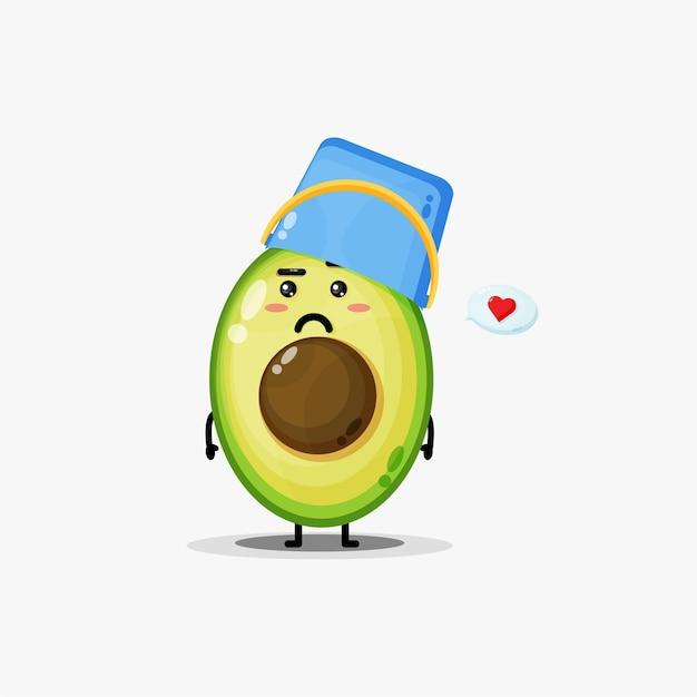 Leuke avocado die een emmerhelm draagt