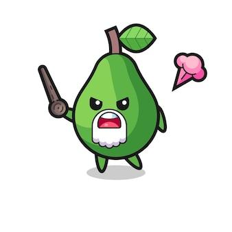 Leuke avocado-opa wordt boos, schattig stijlontwerp voor t-shirt, sticker, logo-element