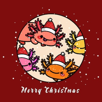 Leuke axolotl die kerst viert