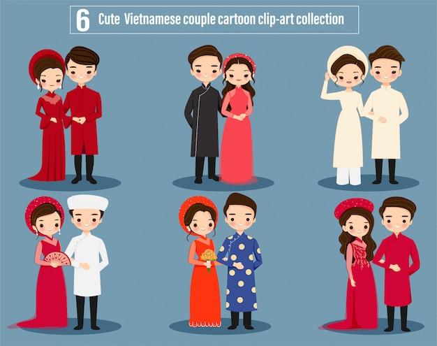Leuke aziatische vietnamese bruidspaar cartoon tekenset collectie