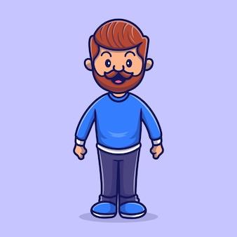 Leuke baard man cartoon vectorillustratie pictogram. mensen familie pictogram concept geïsoleerd premium vector. platte cartoonstijl