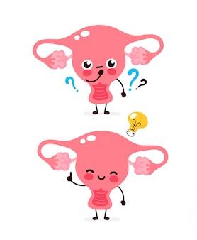 Leuke baarmoeder met vraagteken en gloeilamp karakter. platte cartoon karakter illustratie pictogram. geïsoleerd op wit. de baarmoeder heeft een idee