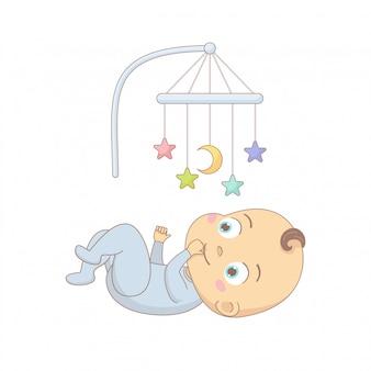 Leuke baby die onder een mobiel stuk speelgoed, de kleurrijke illustratie van het beeldverhaalkarakter ligt.