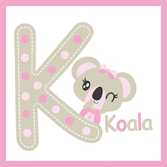 Leuke baby koala naast k alfabet vector cartoon illustratie voor baby douche kaart ontwerp, ontwerp van het kind t-shirt, en kinderkamer muur