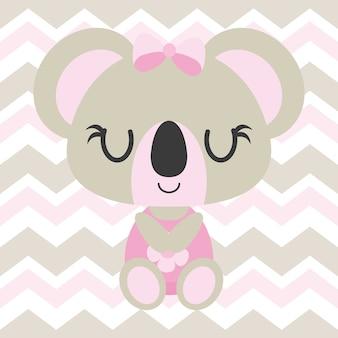 Leuke baby koala slaapt op chevron achtergrond vector cartoon illustratie voor baby douche kaart ontwerp, kid t shirt ontwerp en behang