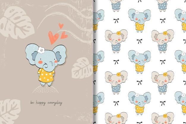 Leuke baby olifant kaart en achtergrond. hand getrokken stripfiguur.