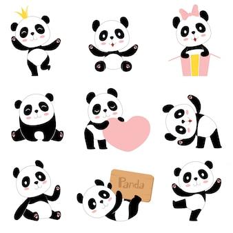 Leuke baby panda's. speelgoed dieren chinese symbolen panda dragen schattige grappige baby mascotte tekens collectie in cartoon stijl