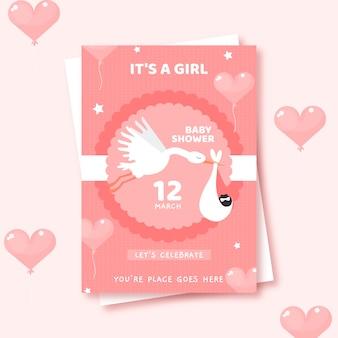 Leuke baby showeruitnodiging die voor meisje wordt geïllustreerd