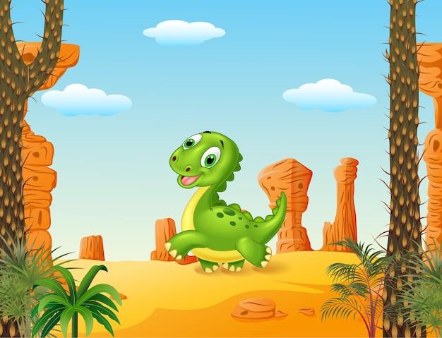 Leuke babydinosaurus die op de woestijnachtergrond lopen