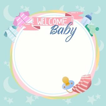 Leuke babydouche en nieuw - geboren van de achtergrond ontwerpbanner vector met fopspeen, babykleren.