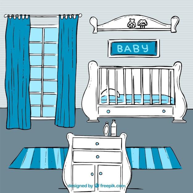Leuke babykamer met blauwe gegevens