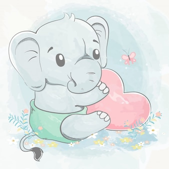 Leuke babyolifant met de grote getrokken illustratie van het de kleurenbeeldverhaal van het hartwater
